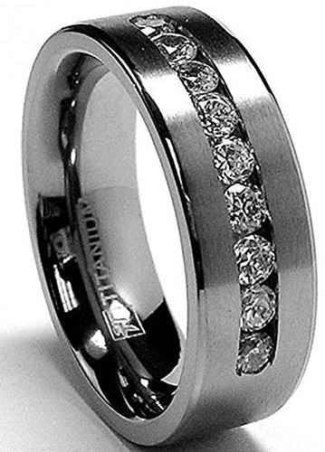 Titanium Wedding Band Ring - 8 MM Men's Titanium ring wedding band with 9 large Channel Set Cubic Zirconia CZ size 11.5