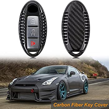 Real Carbon Fiber Red Remote Key Fob Case Shell Cover For Nissan Infiniti GTR
