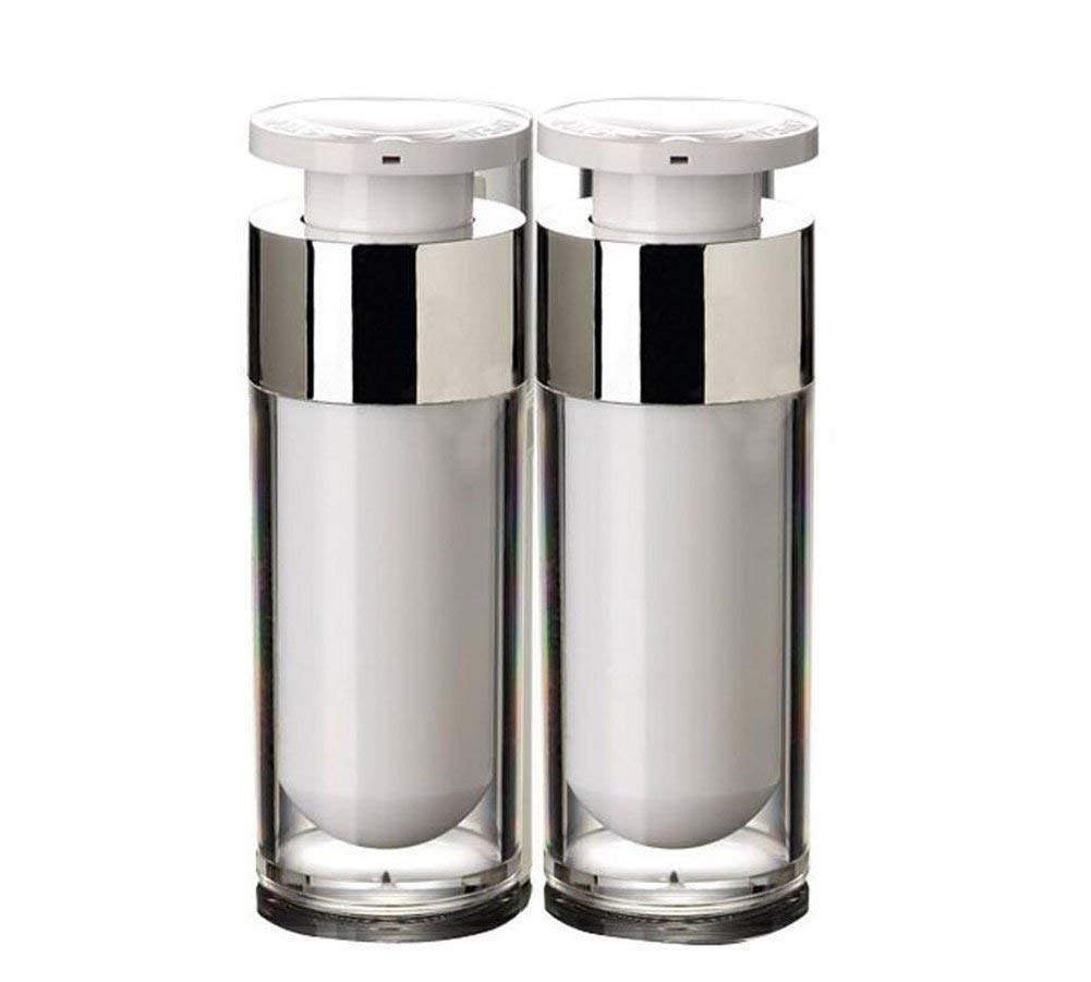 2PCS White Empty Refillable Upscale Airless Acrylic Vacuum Pump Press Bottle Portable Travel Packing Storage Cosmetic Containers Jar Pot Holder Vial For Cream Lotion Emulsion size 30ml/1oz