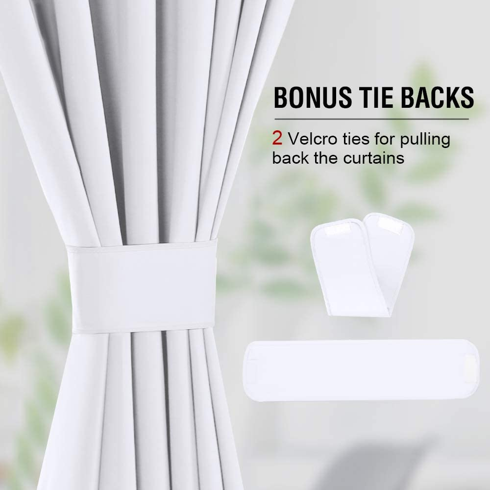 52 x 96 Inch H.VERSAILTEX 100/% Blackout Curtains for Bedroom Window Treatment Curtain Thermal Insulated Curtains for Living Room Rod Pocket Drapes White Backing White 2 Panels with 2 Tie-Backs