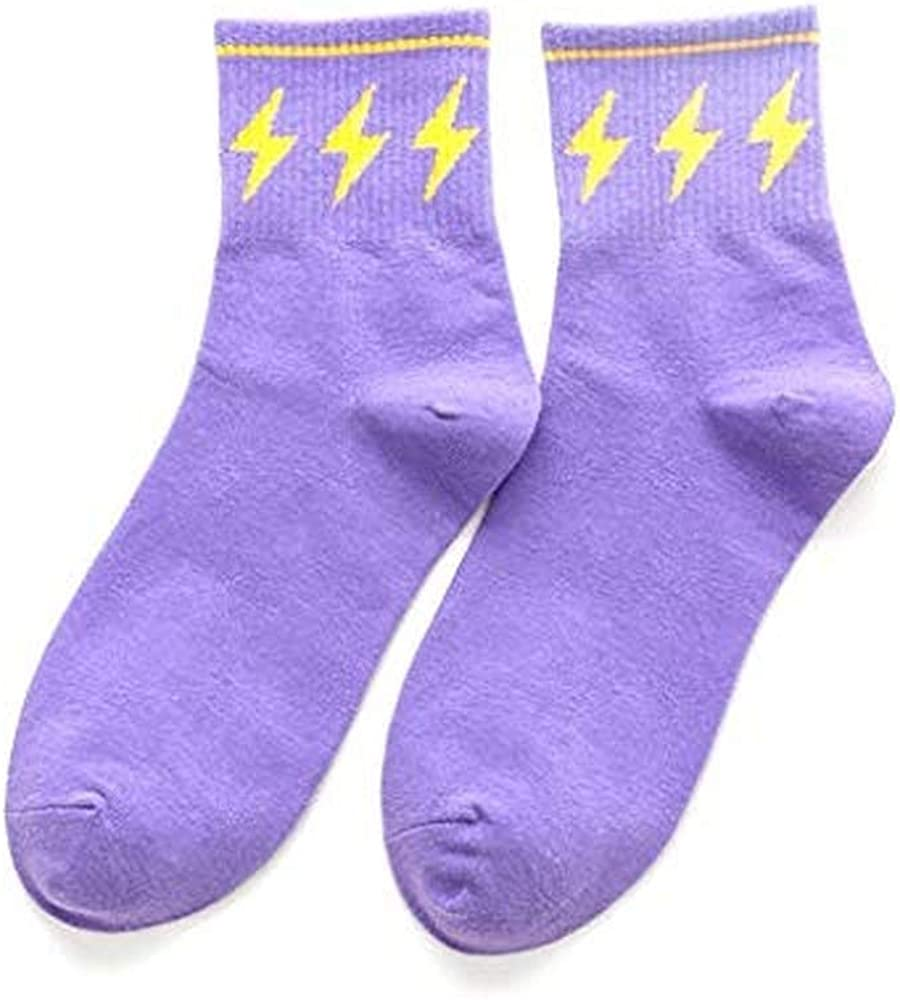 watersouprty Pure Cotton Strawberry Lightning Star Love Patterned Funny Socks