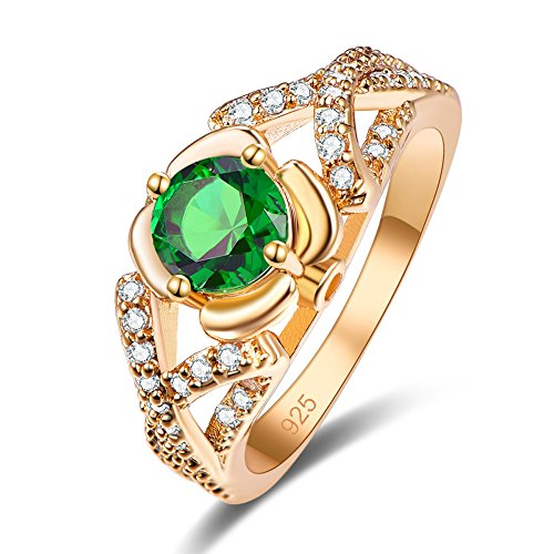 Emsione Created Emerald Quartz 925 Sterling Silver Plated Pave Ring for Women