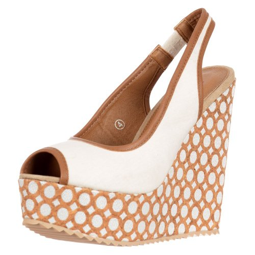 Dolcis Women's Slingback Peep Toe Decorated Wedge Sandals White AZb4DkcFST