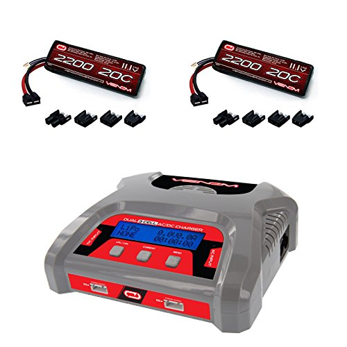t AC/DC 6 amp 3S LiPo RC Battery Balance Charger and 2 Pack Venom 20C 3S 2200mAh 111V LiPo Battery with Universal Plug System Combo (Dual Lipo Charger)