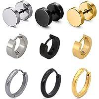 Pusheng 9 Pair Stainless Steel Stud Earring Hoop Earring Set for Men Women