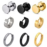 Pusheng 9 Pair Stainless Steel Stud Earring Hoop Earring Set for Men Women,Gifts for Mom Floating Charm Living Memory Lockets Ear drill, Mother's day gifts, Birthday Gifts, Christmas day gift