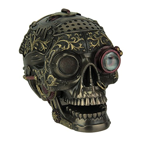 (Resin Statues Steampunk Style Human Skull Bronze Finished Statue With Movable Jaw 5.5 X 4.5 X 3.75 Inches Bronze)