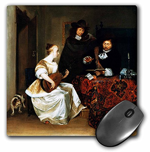 3dRose BLN Music Featured in Fine Art Collection - A Woman Playing a Theorbo to Two Men, by Gerard Ter Borch - MousePad (mp_175450_1)