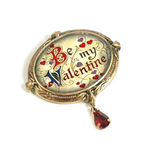 Sweet Romance Vintage Holiday Christmas Halloween Valentine's Day Brooch Pins (Valentine - Be my Valentine) -