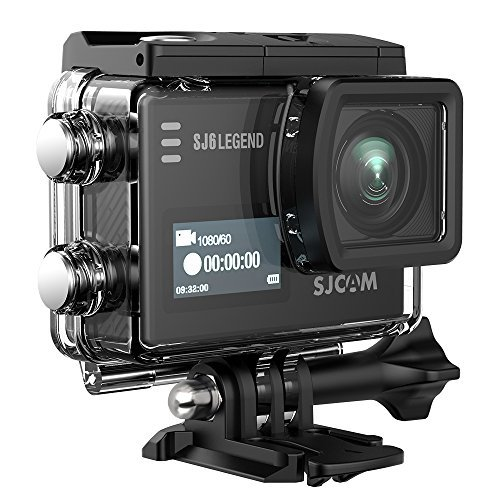 SJCAM SJ6 Legend 4K Action Camera 16MP/Dual Screen/2.0 Touchscreen/Gyro Stabilization/External Microphone Supported/Remote Control Wifi Underwater Camera with Waterproof Case & Accessories- Black by SJCAM