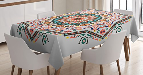 Ambesonne Tribal Tablecloth, Abstract Aztec Style Kaleidoscope Themed Boho Ethnic Sun Pattern Art Print, Dining Room Kitchen Rectangular Table Cover, 60 W X 84 L Inches, Turquoise Coral ()