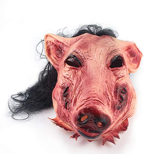 S SUNINESS Halloween Masks Scary Adult Pig Face Masquerade Latex Mask with Hair