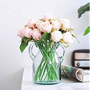 Meiliy 24 Heads Silk Artificial Rose Flower Champagne Pink Fake Roses Bouquets Table Centerpieces for Home Hotel Office Wedding Party Garden Craft Art Decor (Vase not Included) 94