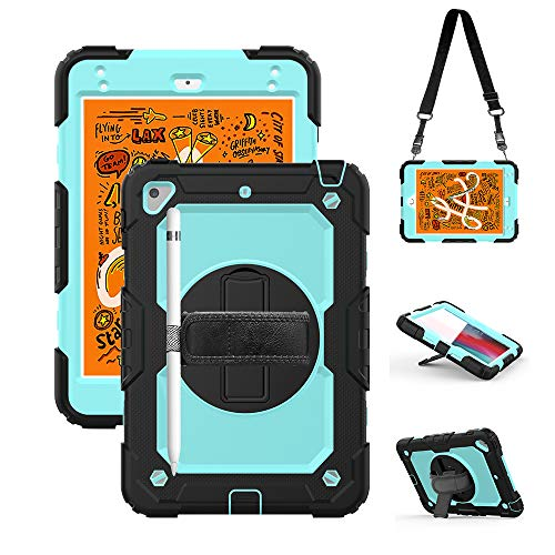 - iPad Mini 4/5 Case for Kids 2019, Built-in Screen Protector, Shockproof Rugged Protection Hard Case with Hand Strap+Shoulder Strap+Pencil Holder+Swivel Stand for iPad Mini 5th 4th Generation SkyBlue
