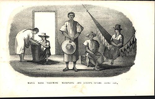 South American Natives Hammock Abode great hats 1854 antique lithograph print