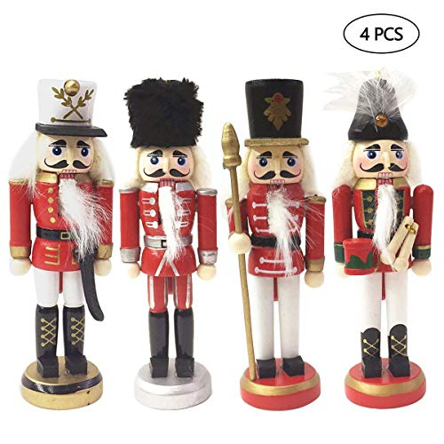 - AOLVO Traditional Christmas Hanging Nutcracker Ornaments, 4PCS Wooden Red Soldier Nutcracker Figures Toy Doll for Shelves TableThemed Party Gifts Outdoor Yard Tree Decoration
