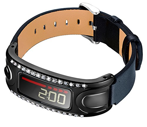 KingBaas Replacement Accessory Watch Metal Frame Genuine Leather Band Compatible Garmin Vivofit and Garmin Vivofit 2, NOT for Garmin Vivofit 3/JR/HR (No Tracker)