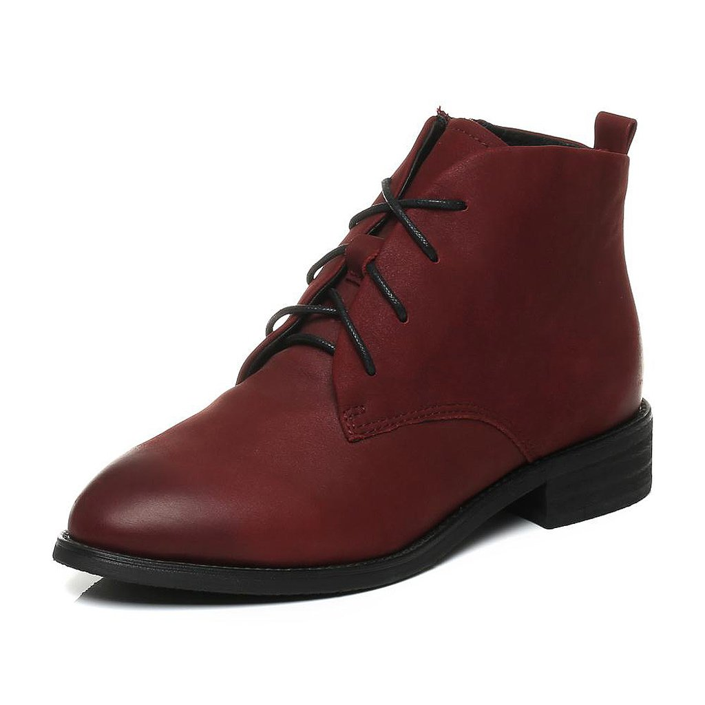 Women 's Martin Boots Fall Cowhide Casual Short Boots ( Color : Red , Size : US:6UK:5EUR:37 ) by LI SHI XIANG SHOP (Image #1)