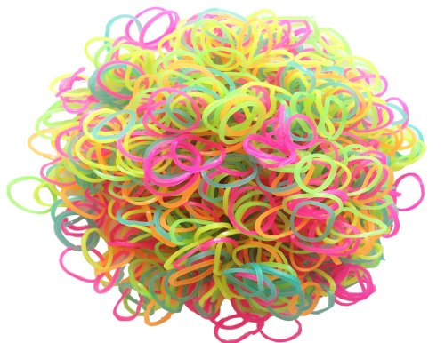 LORJE 600-Piece Glow in The Dark Latex-Free Rubber Band Bracelet Loom Refill Pack -
