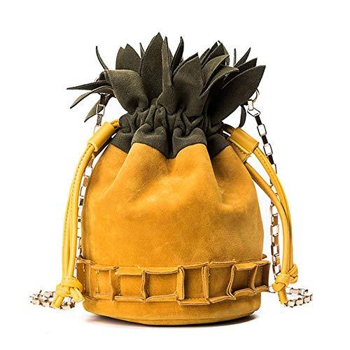 (Suede Crossbody Bucket Bag,Pineapple Shoulder Bag,Cute Spring Summer Bag,Small Crossbody Bag for Women Girls)
