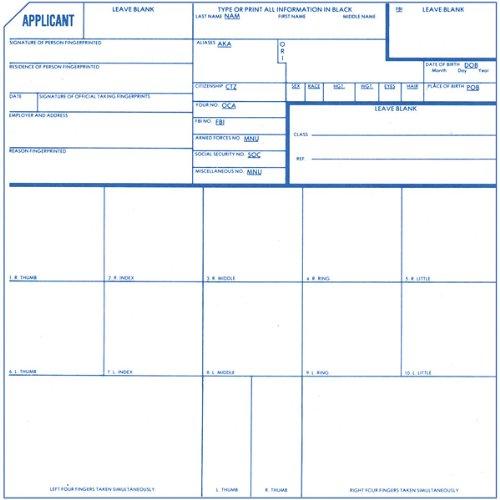 Identicator Applicant Fingerprint Cards, Pack of 250