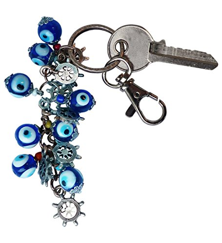 Bunch of Good Luck Evil Eye Beads Keychain Decorative Silver Plated Greek -Turkish … (Boat Steering Wheel) (Turkish Silver Bead)