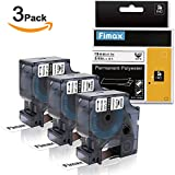 Compatible DYMO Rhino 18484 Industrial Permanent Labels for DYMO LabelWriter and Industrial Label Makers, Black on White, 3/4 inch x 18ft, 3 Rolls (19mm x 5.5m)