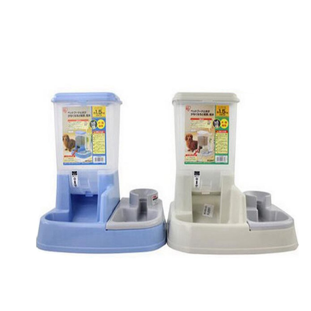WW Pet Feeder Waterer Automatic 2 In 1 Food Water Bowl For Cats And Dogs,Blue by CW&T (Image #5)