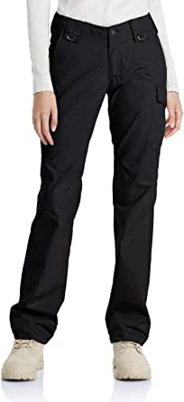 CQR Women's Flex Stretch Tactical Pants, Water Repellent Ripstop Work Pants, Elastic Waist Straight/Cargo Pants with Pockets