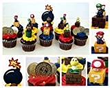 MARIO BROTHERS GAME SCENE 14 Piece Birthday CUPCAKE Topper Set Featuring Mario, Luigi, Goomba, Koopa Troopa, and Mushroom, Themed Decorative Accessories - Figures Average 2.5 Inches Tall