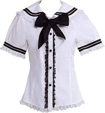 Blanca Algodón Encaje Sailor Collar Bow Kawaii Cute Lolita Camisa ...