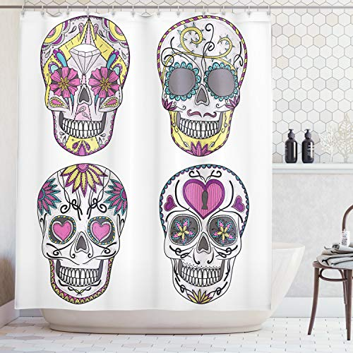 Ambesonne Skulls Decorations Shower Curtain Set, Colorful Ornate Mexican Sugar Skull Set with Flower and Heart Pattern Calavera Humor Art, Bathroom Accessories, 84 Inches Extralong, White Pink