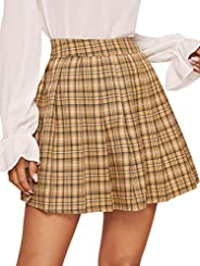 Floerns Women's High Waisted Plaid Pleated S