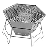 MEI XU Barbecue Grill BBQ Grill - Stainless Steel Barbecue Shelf Outdoor Household Charcoal Grill Portable BBQ Short Foot Burning Table Folding Hexagonal Oven