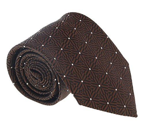 (Ermenegildo Zegna Brown Hexagon Stripe Tie for mens )