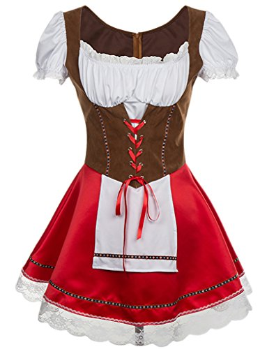 Alivila.Y Fashion Womens Oktoberfest Germany Bavarian Halloween Costume 31649-BrownRed-XXL for $<!--$27.99-->
