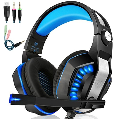 Beexcellent GM-2 Gaming Headset with Mic - Sound Clarity, Noise Reduction Headphones with LED Lights | Soft & Comfy Ear-Pads | Y Splitter for PlayStation 4, Xbox One, PC, Laptops, Smartphones, Blue
