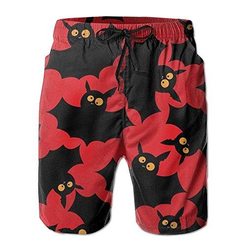 ZQKCMY New Halloween Bats Men's Beach Pants,Shorts Beach Shorts Swim Trunks, Size M