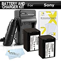 2 Pack Battery And Charger Kit For Sony HDR-CX290, HDR-PJ670, FDR-AX33, FDR-AX53, HDR-CX455, HDR-CX675, HDRCX675/B HD Camcorder Includes 2 Replacement (2540Mah) NP-FV70 Batteries + Ac/Dc Charger + More