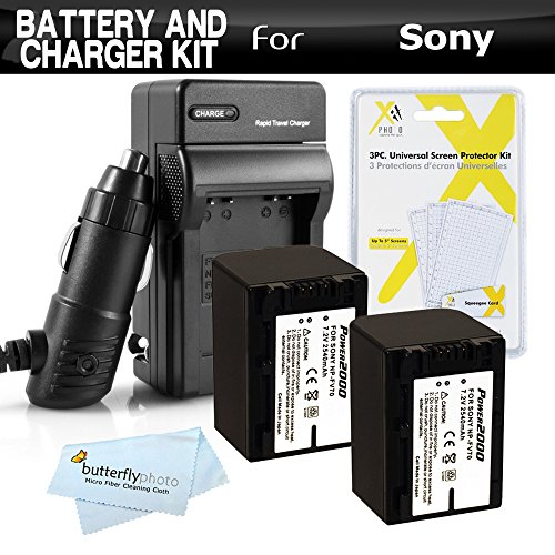 2 Pack Battery And Charger Kit For Sony HDR-CX290, HDR-PJ670, FDR-AX33, FDR-AX53, HDR-CX455, HDR-CX675, HDRCX675/B HD Camcorder Includes 2 Replacement (2540Mah) NP-FV70 Batteries + Ac/Dc Charger + -