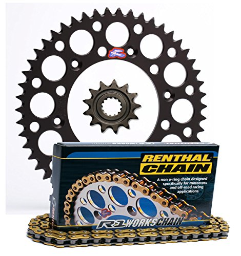 Renthal Grooved Front & Ultralight Rear Sprockets & R1 MX Works Chain Kit - 13/50 BLACK - Kawasaki KX250F by Seismic Cycles