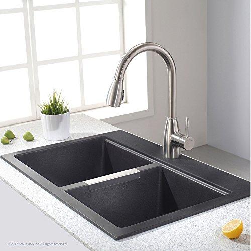 Kraus KGD-433B 33 inch Mount Double Onyx Granite Kitchen