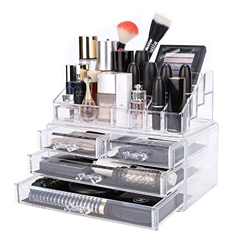 DreamGenius Makeup Organizer 2 Pieces Acrylic Jewelry and Cosmetic Storage Display Boxes with 4 drawers