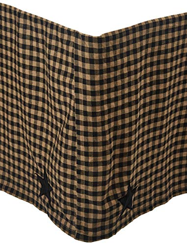 VHC Brands Primitive Black Check Star Bed Skirt, Queen,