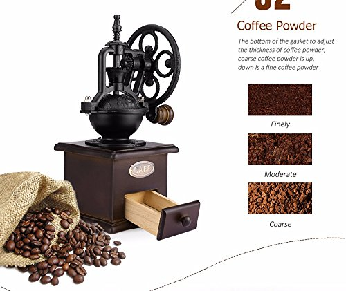 Fecihor Manual Coffee Grinder With Grind Settings and Catch Drawer - Classic Vintage Style Manual Hand Grinder Coffee Mill by Fecihor (Image #2)