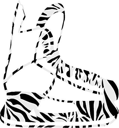hBARSCI Ice Skate Vinyl Decal - 5 Inches - for Cars, Trucks, Windows, Laptops, Tablets, Outdoor-Grade 2.5mil Thick Vinyl - Zebra Print