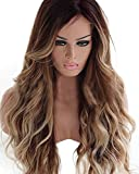 HotQueen 7A 100% Brazilian Human Hair Wigs Remy Long Ombre Brown Wavy Lace Front Wig For Sale