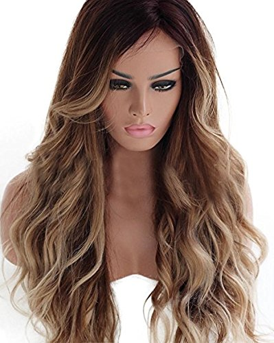 HotQueen 7A 100% Brazilian Human Hair Wigs Remy Long Ombre Brown Wavy Lace Front Wig