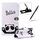 Wallet Leather Case for iPhone 8,Flip Case for iPhone 7,Herzzer Stylish Premium Hello Panda Printed Magnetic Stand PU Leather with Inner Soft Rubber Case