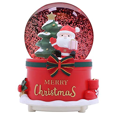 XXMANX 80 MM Christmas Snow Globe with 8 Music and 4 Color Lights Santa Music Box Home Decoration for Girls Boys Kids Granddaughters Babies Birthday Gift, Musical, Resin/Glass (Manual Snow Drift) (Snow Globes Cheap)
